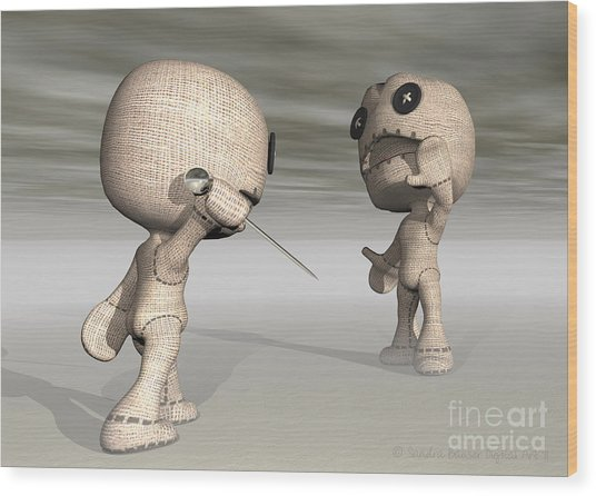 When Toys Go Bad Wood Print by Sandra Bauser Digital Art