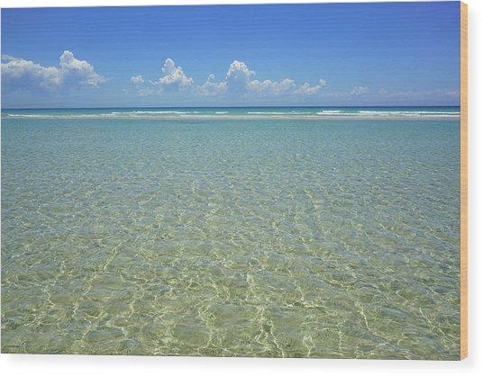 Where Crystal Clear Ocean Waters Meet The Sky Wood Print