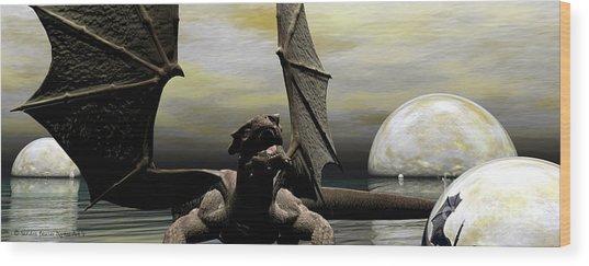 Where Dragons Be Wood Print by Sandra Bauser Digital Art