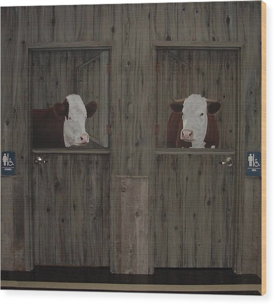 Which Stall Do I Go In Wood Print by Sandra Poirier