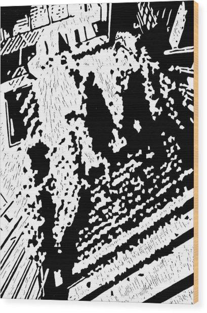 Which Way Up  -- Hand-pulled Linoleum Cut Wood Print by Lynn Evenson