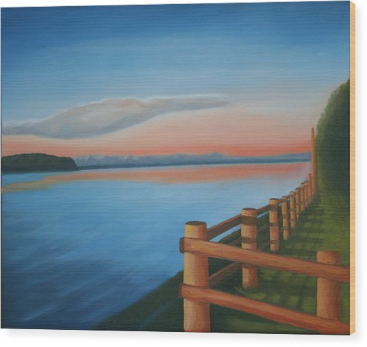 Whidbey Island Sunset Wood Print by Stephen Degan