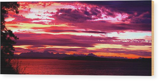 Whidbey Red Sky Morning Wood Print by Mary Gaines