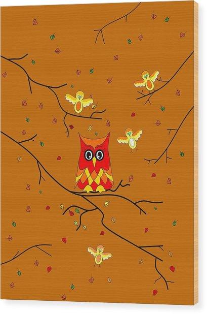 Whimsical Autumn Colors - Birds Owls Wood Print