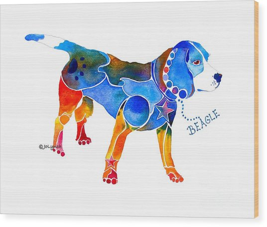 Whimsical Beagle Wood Print