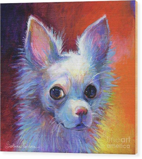 Whimsical Chihuahua Dog Painting Wood Print