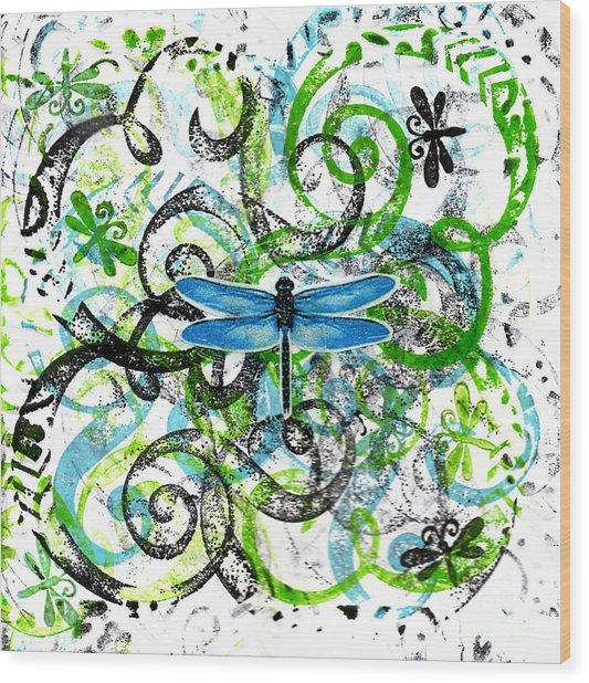 Whimsical Dragonflies Wood Print