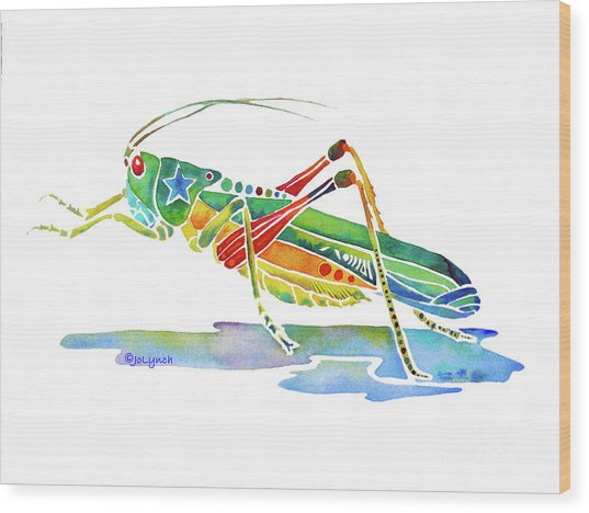 Whimsical Grasshopper  Wood Print