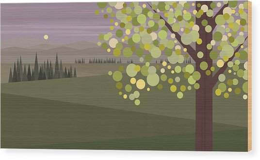Whimsical Green Tree Wood Print