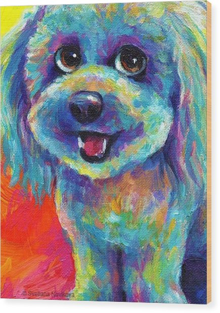 Whimsical Labradoodle Painting By Wood Print