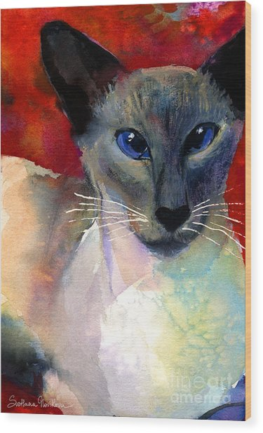 Whimsical Siamese Cat Painting Wood Print