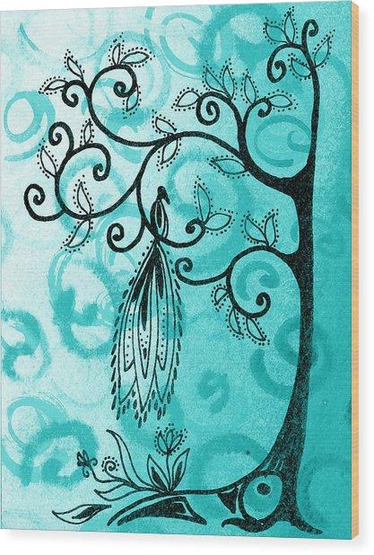 Whimsical Tree And Magical Bird Wood Print