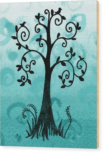 Whimsical Tree With Birds Wood Print