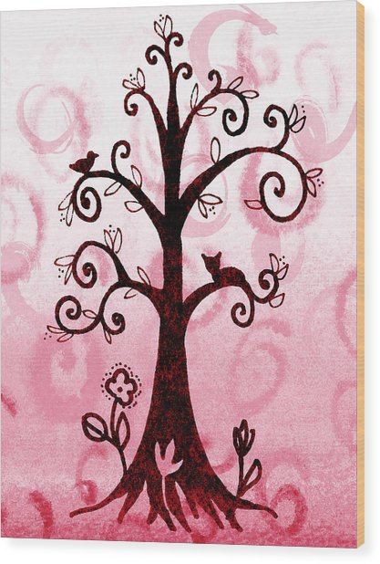Whimsical Tree With Cat And Bird Wood Print