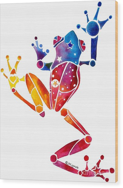 Whimzical Crazy Tree Frog 1 Wood Print