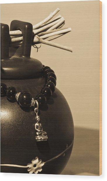 Whishing Jar And Buddha Wood Print by Edward Myers