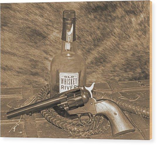 Whiskey And A Gun Wood Print