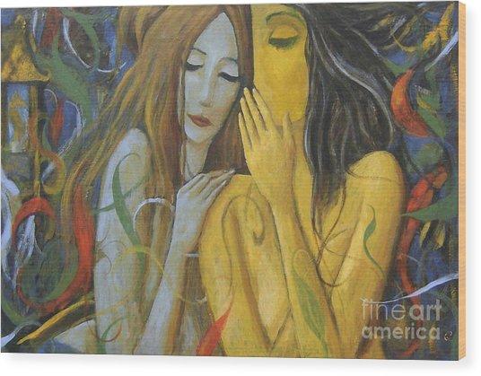 Whispering Mermaids Wood Print