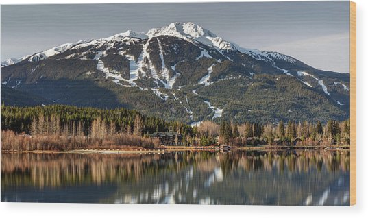 Wood Print featuring the photograph Whistler Mountain Reflection Panorama by Pierre Leclerc Photography