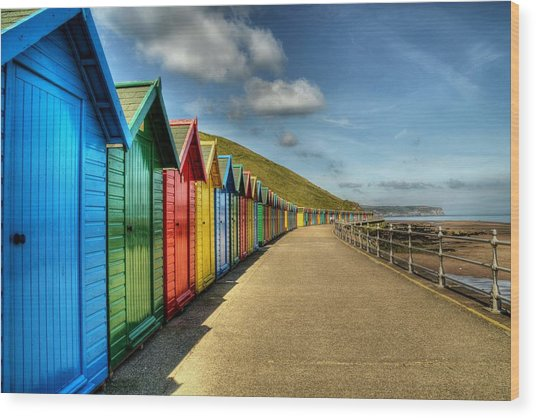 Whitby Beach Huts Wood Print