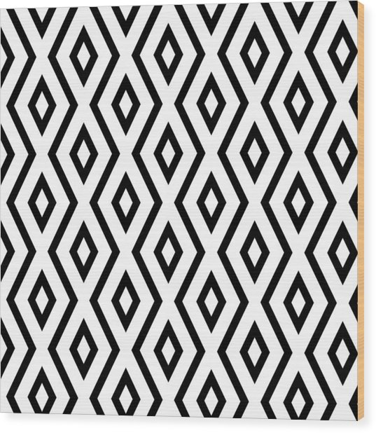 White And Black Pattern Wood Print