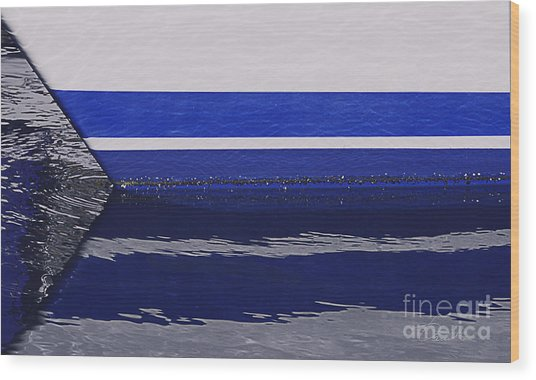 White And Blue Boat Symmetry Wood Print