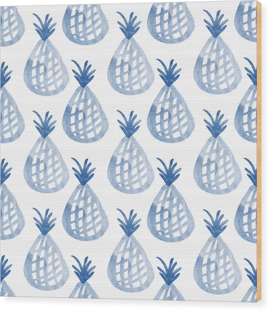White And Blue Pineapple Party Wood Print