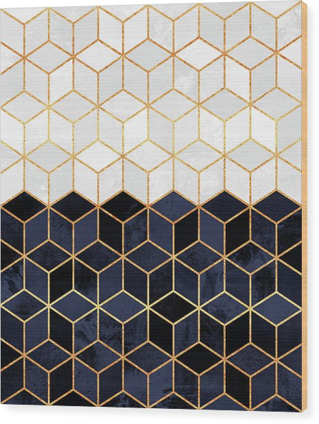 White And Navy Cubes Wood Print