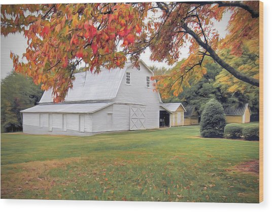 White Barn In Autumn Wood Print