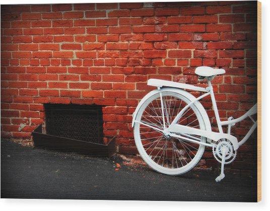White Bike On Red Brick Wood Print