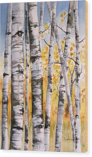 White Birch Meadow Wood Print