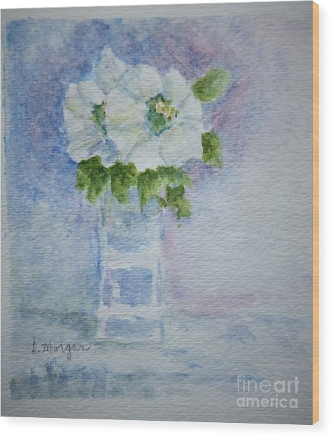 White Blooms In Blue Vase Wood Print