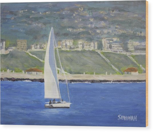 White Boat, Blue Sea Wood Print