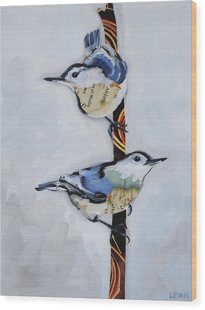 White Breasted Nuthatch Wood Print by Anne Lewis