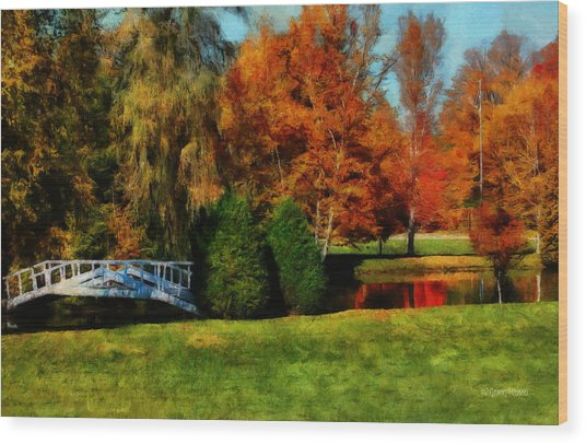 White Bridge Oro Wood Print
