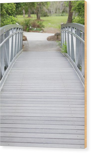 Wood Print featuring the photograph White Bridge by Raphael Lopez