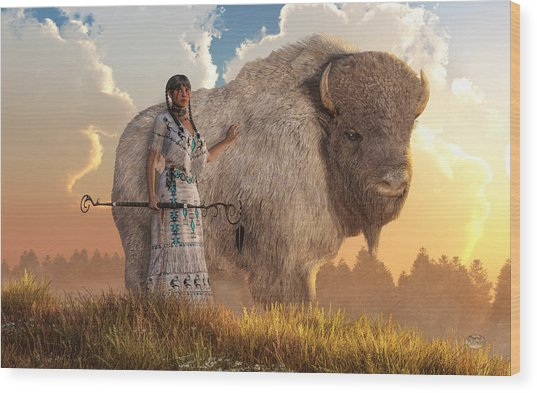 White Buffalo Calf Woman Wood Print