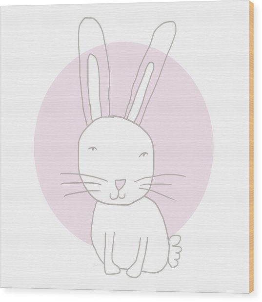White Bunny On Pink- Art By Linda Woods Wood Print