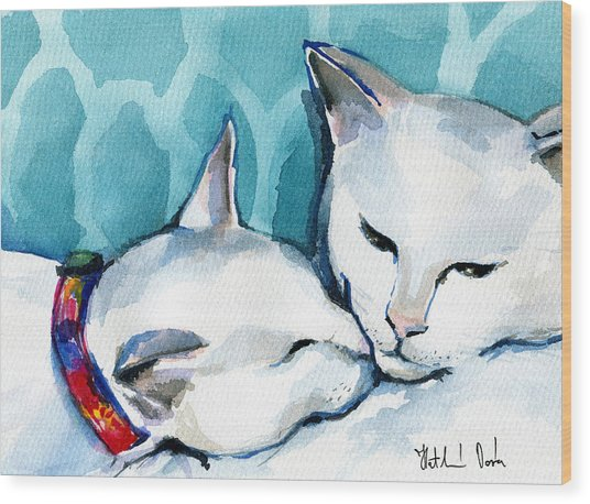 White Cat Affection Wood Print