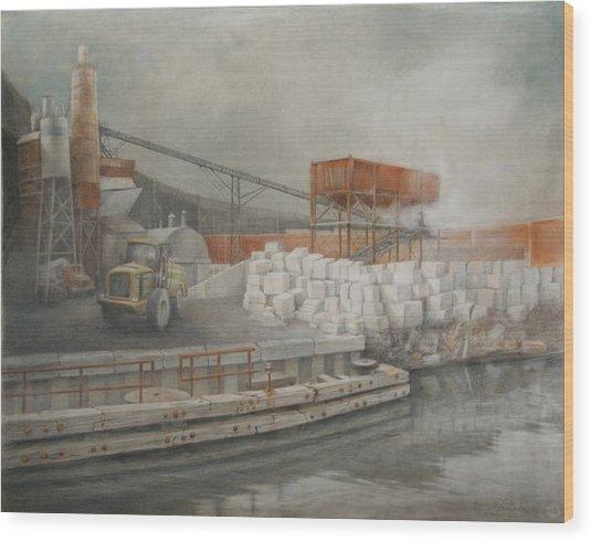White Cinder Blocks Wood Print by Stefan Beltzig