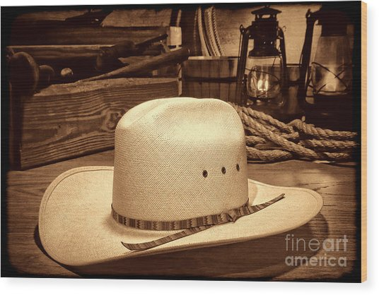 White Cowboy Hat In A Barn Wood Print