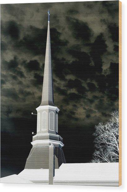 White Cross Dark Skies Wood Print
