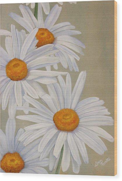 White Daisies Wood Print