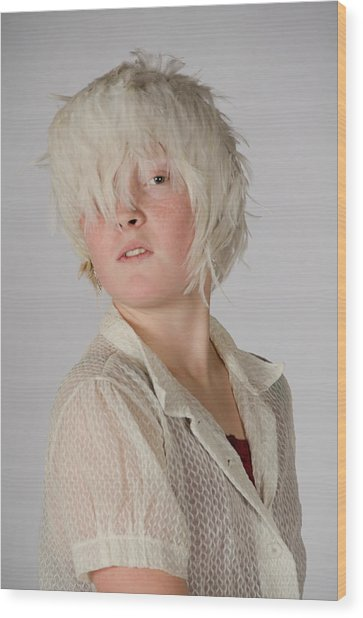 White Feather Wig Girl Wood Print