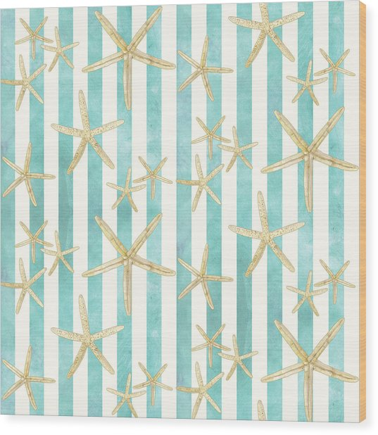 White Finger Starfish Watercolor Stripe Pattern Wood Print