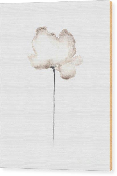 White Flower Minimalist Painting Wood Print