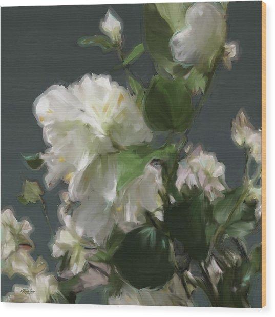White Flowers 103 Wood Print