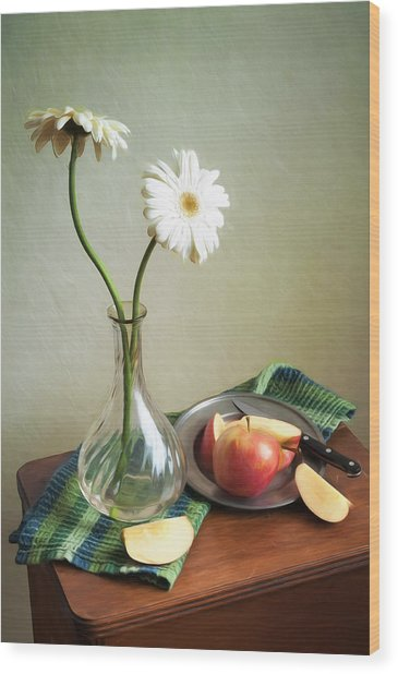 White Flowers And Red Apples Wood Print