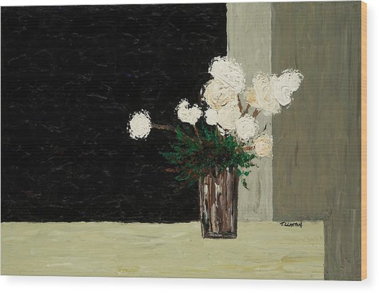White Flowers On Black And Neutral Wood Print by Timothy Clayton