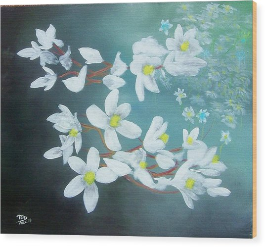 White Flowers Wood Print by Tony Rodriguez